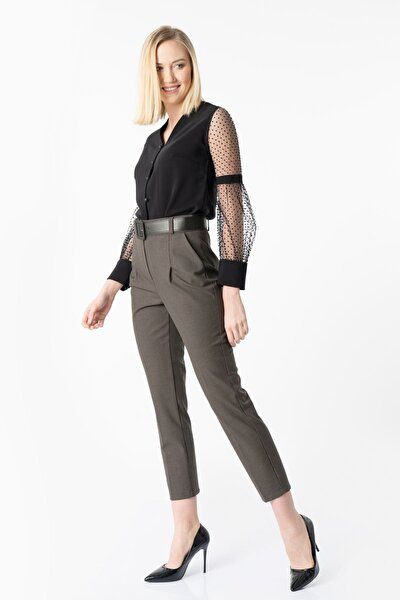 Kadın Ekose Deri Kemerli Kalem Pantolon