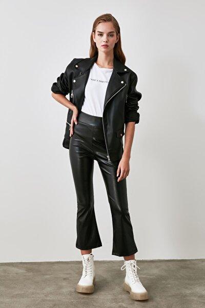 Siyah Deri Görünümlü Örme Pantolon TWOAW21PL0047