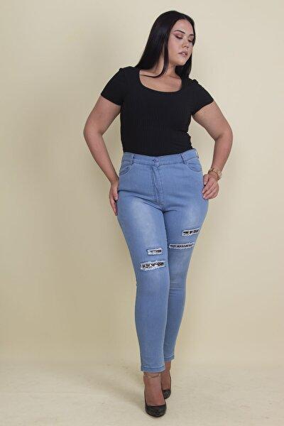 Kadın Mavi Yırtık Detaylı Likralı Pantolon 65N17897