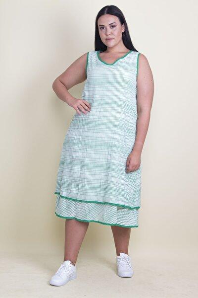 Kadın Yeşil Biye Detaylı Etek Ucu Katlı Astarlı Elbise 65N17881