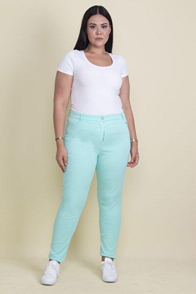 Kadın Mint Pamuklu Kumaş Likralı Pantolon 65N17898