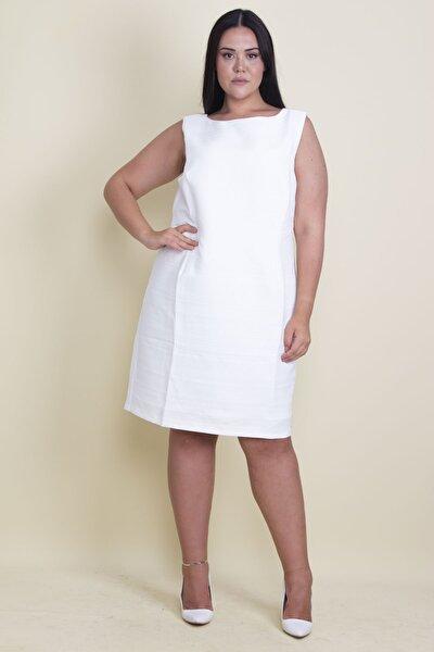 Kadın Kemik Sim Detaylı Astarlı Kendinden Desenli Arka Fermuarlı Elbise 65N17914