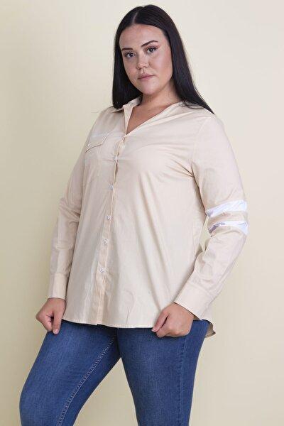 Kadın Camel Cebi Taş İşli Koton Gömlek 65N17857
