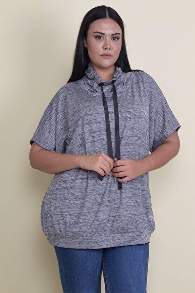Kadın Gri Düşük Kol Yaka Detaylı Spor Tunik 65N17853