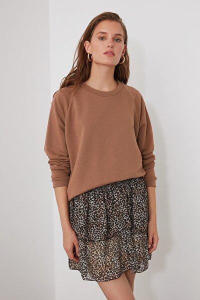 Kahverengi Reglan Kol Basic Örme Sweatshirt TWOAW20SW0055