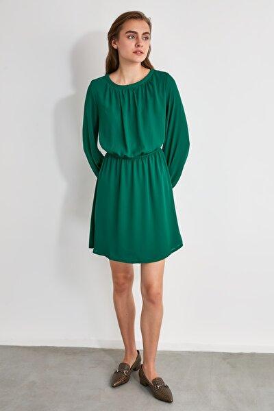 Yeşil Büzgülü Elbise TWOAW21EL0821