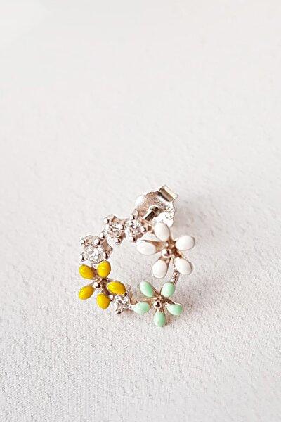 Tekli Ithal Mini Flower 3 Renkli Gümüş Küpe