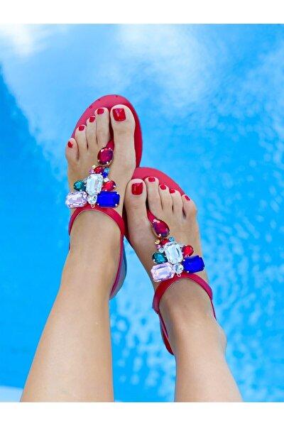 Rio Bordo Taşlı Sandalet