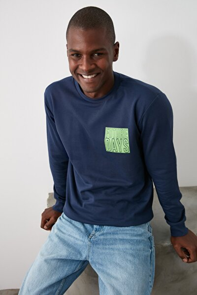 Lacivert Erkek Baskılı Bisiklet Yaka Regular Sweatshirt TMNAW21SW0487