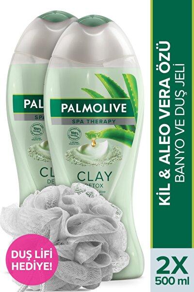 Spa Therapy Clay Detox Kil ve Aloe Vera Özü Banyo ve Duş Jeli 500 ml x 2 Adet + Duş Lifi Hediye