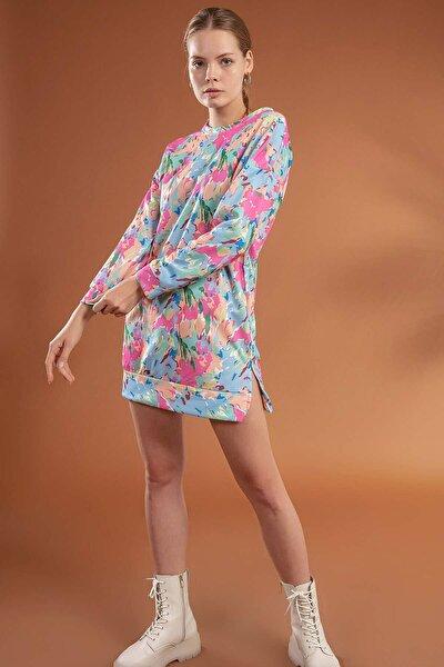 Kadın Pembe Kamuflaj Baskılı Oversize Elbise Sweatshirt Y20W110-4202