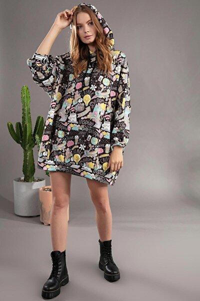Kadın Siyah Grafik Desenli Kapşonlu Oversize Elbise Sweatshirt Y20W110-4125