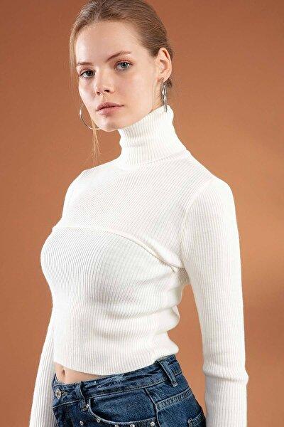 Kadın Boğazlı Fitilli Crop Kazak Y20w106-0359
