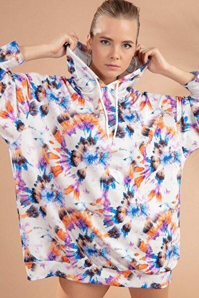 Kadın Batik Desenli Kapşonlu Örme Sweatshirt Elbise Y20w110-4125-13