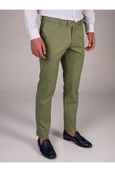 Yeşil Baskı Sık Dokuma Erkek Pantolon - Slım Fıt