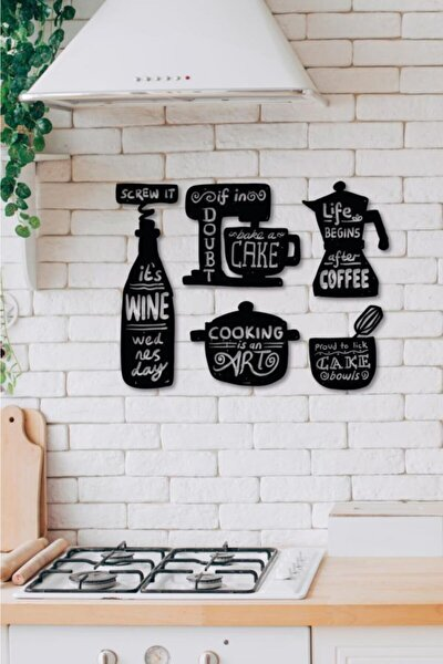 Ahşap Dekoratif Yazılı Mutfak Malzemeleri Tablo Süsü
