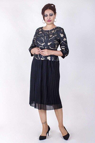 Büyük Beden Kadın Pilise Etekli Siyah Gold Renk Elbise
