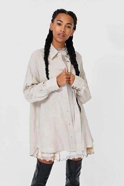 Kadın Bej Uzun Gömlek 06055685