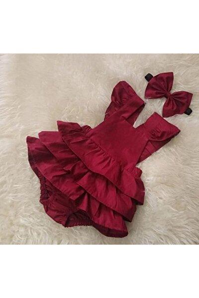 Kız Bebek Bordo Romper Elbise