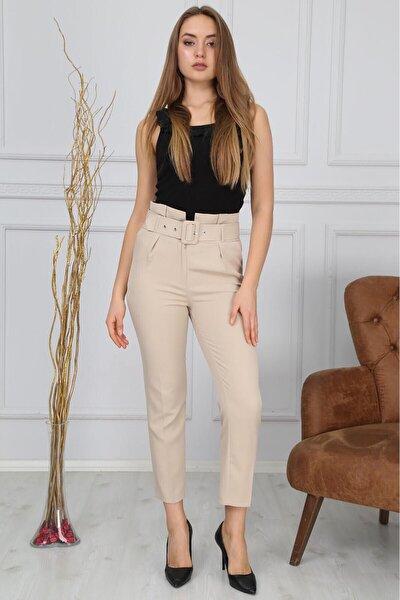 Kadın Bej Beli Kemerli Kumaş Pantolon