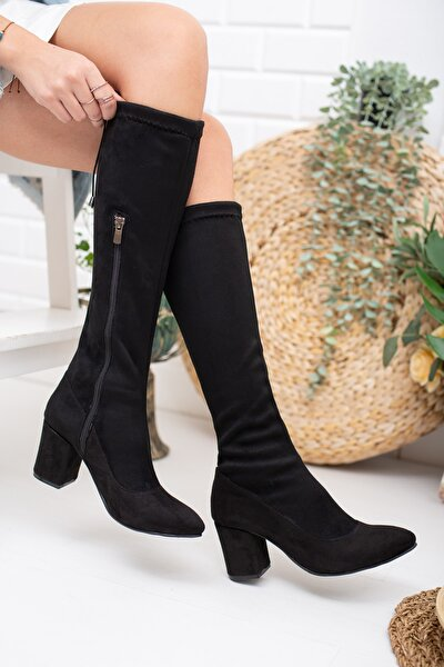 Siyah Süet Kadın Streç Çizme Md1044-117-0001
