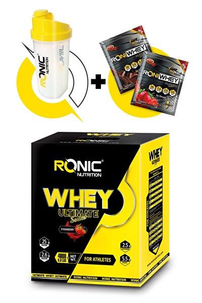 Whey Ultimate Protein Tozu 4000 gr Çilek Aromalı Shaker ve 2 Adet Tek Kullanımlık Whey Protein