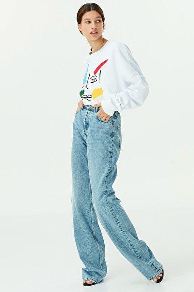 Kadın Mavi Wide Leg Jean Pantolon TW6200018034