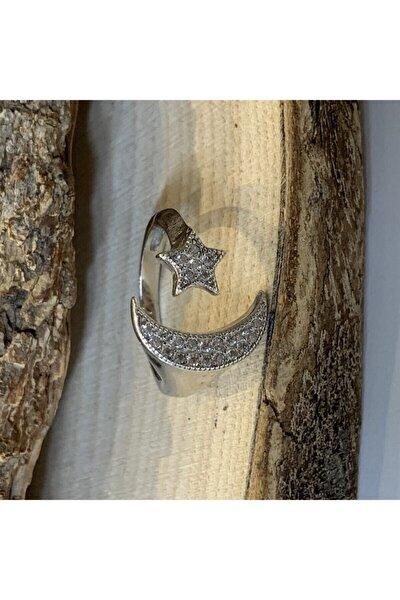 925 Ayar Ay Yıldızlı Zirkon Kadın Gümüş Yüzük