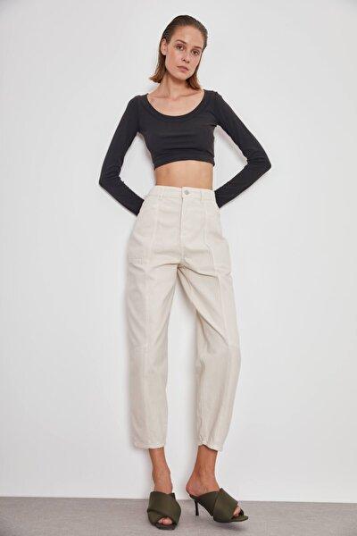 Kadın Krem Yüksek Bel Jeans Kot Pantolon
