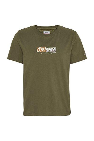 Kadın Yeşil T-Shirt Tjw Camo Square Logo Tee DW0DW08054
