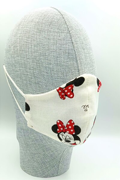 Bebek Boy Minnie Mouse Müslin Kumaş Yıkanabilir Maske