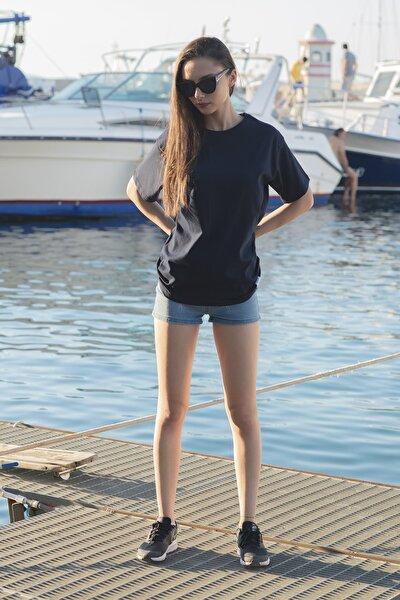 Unisex Gece Mavisi Oversize T-shirt