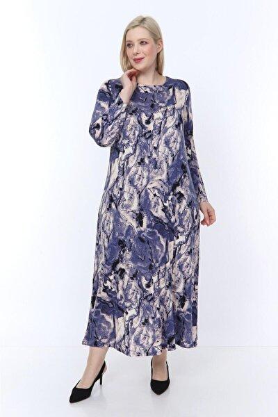 Kadın Lila Desenli Yaka Pervazlı Uzun Elbise