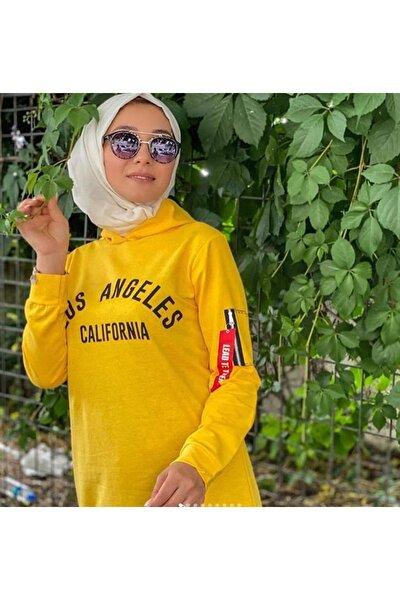Tesettür Baskılı Sarı Sweatshirt Tunik
