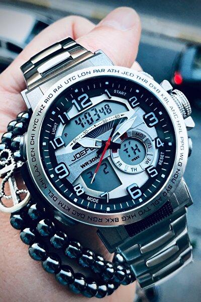 Erkek Gümüş Kol Saati Ve Bileklik Hediyeli
