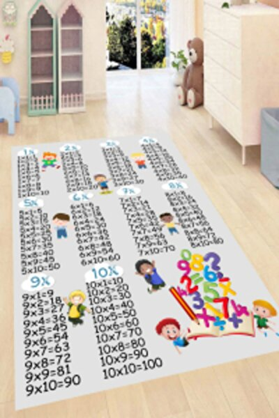 Eğitici Çarpım Tablosu Desenli Dijital Baskılı Halı