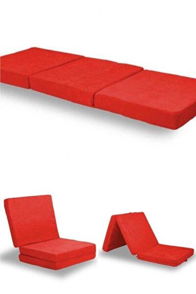 Çok Amaçlı Katlanır Taşınabilir Kırmızı Renk Sünger Yer Yatağı