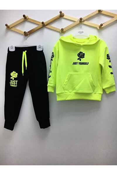 Kız Çocuk Neon Yeşil Siyah Eşofman Takım