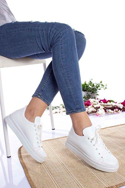 Kadın Beyaz Düz  Cilt Spor Ayakkabı