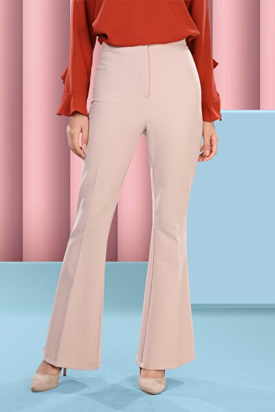 Kadın Bej Ispanyol Paça Pantolon
