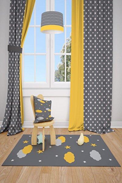 Sarı Desenli Çocuk ve Bebek Odası Fon Perde 2 Kanat 140x220 cm Mkt-101