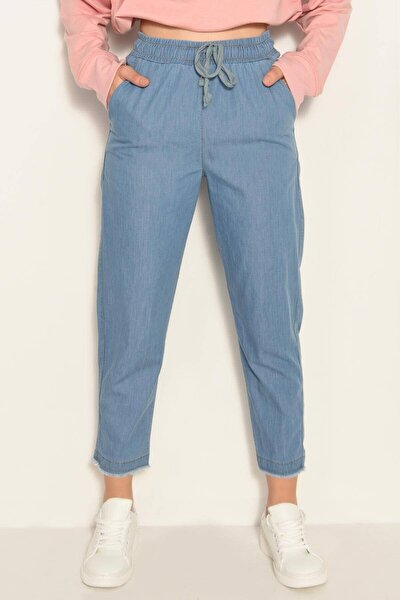 Kadın Kot Rengi Önden Bağlamalı Pantolon PN4317 - PNE ADX-0000022956