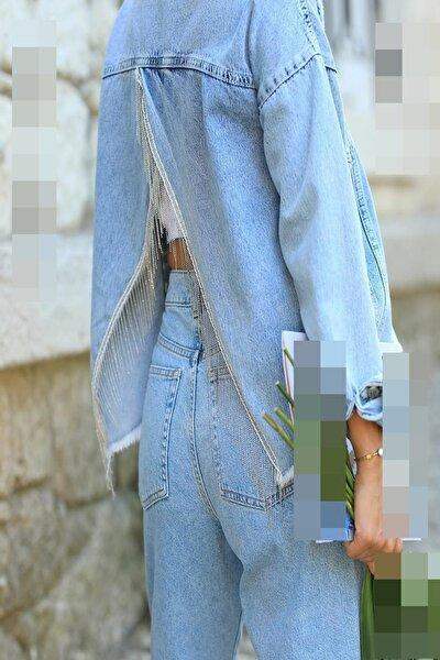 Kadın Arkası Zincir Detay Kot Ceket