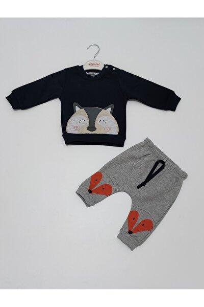 Erkek Gri Balmastro  Kışlık Üç Iplik Şardonlu Bebek Ikili Takım