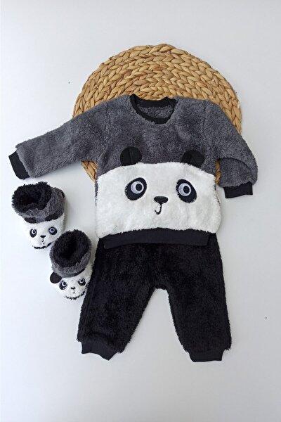 Unisex Gri Panda Desenli Kışlık Welsoft Panduflu Lüx Bebek Takımı 6-9-12 Ay