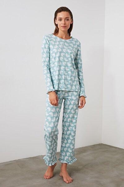Mint Baskılı Örme Pijama Takımı THMAW21PT0247