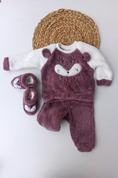 Kız Çocuk Geyik Desenli Kışlık Welsoft Panduflu Lüx Bebek Takımı