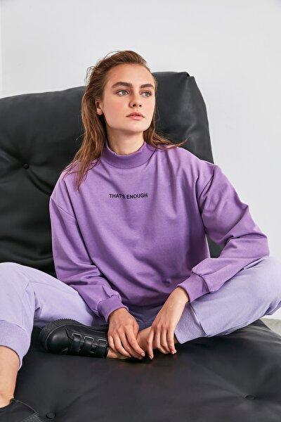 Lila Baskılı Dik Yaka Örme Sweatshirt TWOAW21SW0785