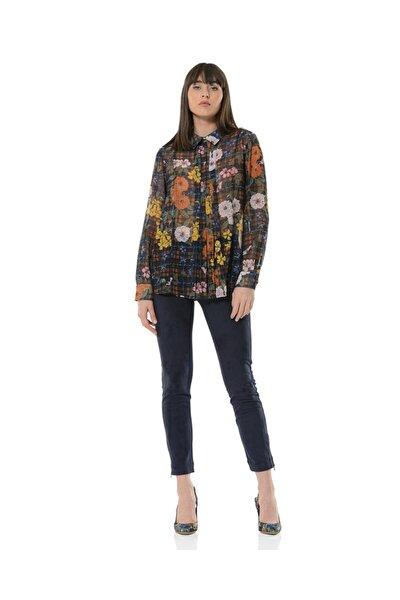 Kadın Lacivert Fleural Bluz