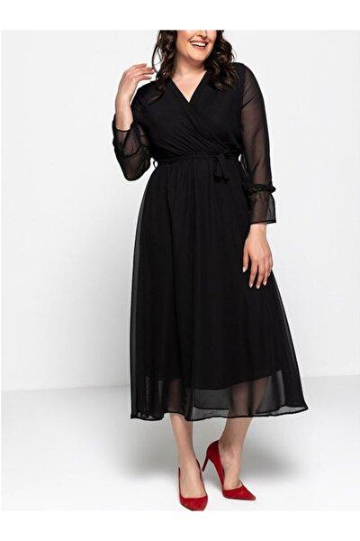 Kadın Siyah Uzun Kruvaze Yaka Şifon Büyük Beden Elbise